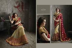 Vogue and pattern would be on the peak of your beauty as soon as you attire this red jacquard and net designer saree. Look ravishing clad in this dress that's enhanced embroidered and patch border work. Comes with matching blouse. (slight variation in color, fabric & work is possible. Model images are only representative.)  http://www.divineboutique.in/home/1215-classy-embroidered-work-net-designer-saree-1701.html