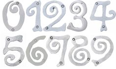 Large Scroll House Numbers, Brushed Nickel