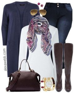 Plus Size Navy Cardigan Outfit Idea - Plus Size Fashion for Women - alexawebb.com #alexawebb