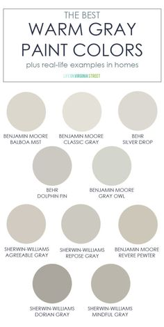 A collection of the best warm gray paint colors! This post also includes real-li. - A collection of the best warm gray paint colors! This post also includes real-life examples in home -