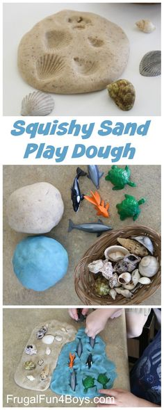 to Make Squishy Sand Play Dough How to Make Squishy Sand Play Dough - Awesome for beach pretend play, making prints with shells, etc.How to Make Squishy Sand Play Dough - Awesome for beach pretend play, making prints with shells, etc. Toddler Beach, Toddler Play, Toddler Crafts, Crafts For Kids, Children Play, Fun Crafts, Summer Activities, Toddler Activities, Preschool Activities