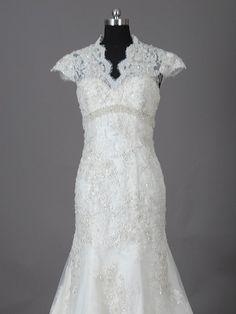 Custom make A-Line Cathedral Train Wedding Dress Bridal Gown Bridesmaid Dress Evening Prom Dress. $239.00, via Etsy.