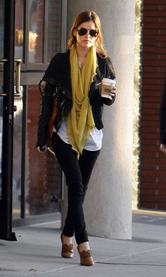 Mixing brown and black. Funky shoes and scarf. Simple white tee and fierce motorcycle jacket.
