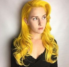 Bright yellow hair color for with soft curls Yellow Hair Color, Green Hair, Hair Colors, Bright Hair, Colorful Hair, Bright Yellow, Good Dye Young, Pulp Riot Hair Color, Perfect Hair Color