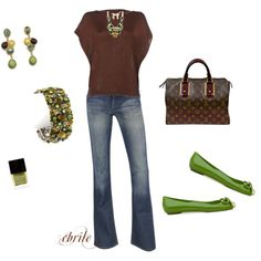 love brown & green, created by cbrile.polyvore.com