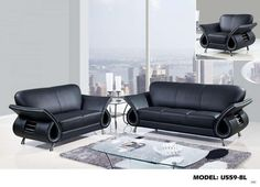 Global Furniture 559 Leather And Leather Match Sofa In Black