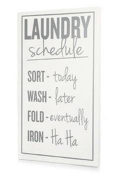 White and Dark Gray Laundry Schedule by Twelve Timbers on @HauteLook
