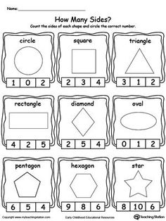 best free kindergarten worksheets images in   teacher pay  identifying and counting shape sides shapes worksheet preschool shape  activities kindergarten printable worksheets for