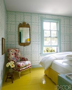 This flooring is crazy and matches everything so well together I love the wall paper so much and the window makes everything come out so well