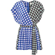 Diane von Furstenberg Wrap-effect gingham silk crepe de chine playsuit (5.273.720 IDR) ❤ liked on Polyvore featuring jumpsuits, rompers, silk romper, blue romper, silk rompers, playsuit romper and diane von furstenberg