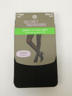 Women Tights PLUS SIZE 3 Solid Black Opaque to Waist SECRET TREASURES ST5OY #SECRETTREASURES #Tights