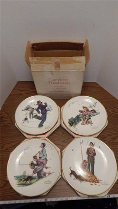 1974 Gorham Norman Rockwell Four Seasons Series Grandpa & Me 4 Plate Collection