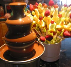 New Chocolate Fountain Recipe Fondue Party Ideas Chocolate Fountain Machine, Chocolate Fountain Recipes, Chocolate Fountains, Chocolate Recipes, Fondue Recipes, Dessert Recipes, Fondue Ideas, Best Chocolate, Chocolate Chips