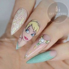Tinkerbell inspired nails.