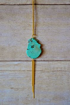 Lily Large Native Turquoise Stone Pendant by MourningDoveJewelry, $20.00