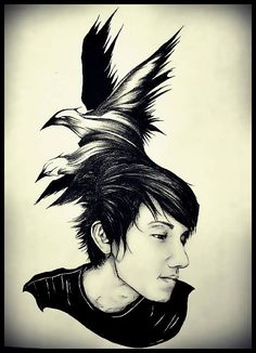 #art #myart #drawing #portrait #men #boy #birds #nest #hair #illustration #people