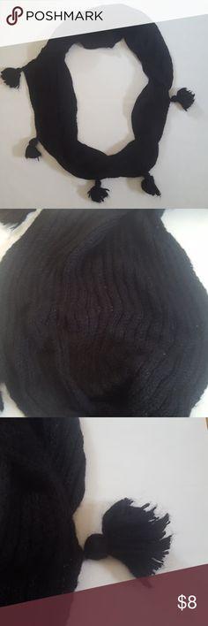 Infinity scarf Black infity scarf with pom poms d&y Accessories Scarves & Wraps
