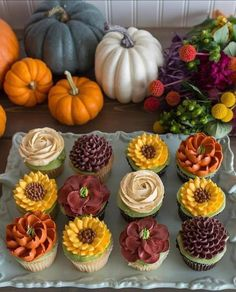 Some fall deliciousness for your Thursday? Sneak peek of our fall menu, gorgeous photos by Some fall deliciousness for your Thursday? Sneak peek of our fall menu, gor Thanksgiving Cupcakes, Fall Wedding Cupcakes, Cupcakes Fall, Autumn Wedding Cakes, Cake Wedding, Wedding Rings, Mini Cakes, Cupcake Cakes, Cupcakes Flores