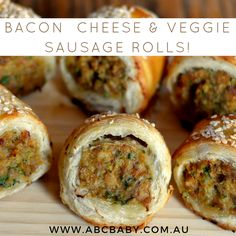 are super easy and out of all the different types and flavored sausage trolls I bake, these are the most loved. How many sausage rolls you create is really dependent on how big or small you cut of tasty che Chicken Sausage Rolls, Homemade Sausage Rolls, Veggie Sausage, Chicken Stuffing, Pastry Recipes, Cooking Recipes, Pastry Dishes, Mince Dishes, Beef Dishes