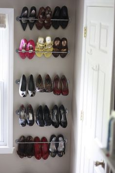 The Frosting on the Cake: Cheap and Easy Shoe Storage with Ikea Bygel Rail Rails for shoe storage, Ikea hack. Diy Rack, Diy Shoe Rack, Shoe Organizer, Closet Organization, Ikea Bygel, Diy Shoe Storage, Storage Ideas, Ideas Para Organizar, How To Store Shoes