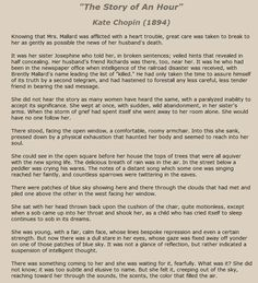 The Story of An Hour, Kate Chopin.  Find the full text and see what happens next! Best Short Stories, Lyric Quotes, Lyrics, Short Essay, Condolences, Book Reader, New Words, Higher Education, Textbook