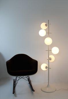 Enameled Metal and Glass Floor Lamp by Temde, Modern Lighting Design, Interior Lighting, Glass Floor Lamp, Low Lights, Beautiful Interiors, Sconces, Interior Decorating, Table Lamp, Chandelier