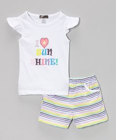 Love this White 'Sunshine' Angel-Sleeve Top & Shorts - Infant & Toddler on #zulily! #zulilyfinds