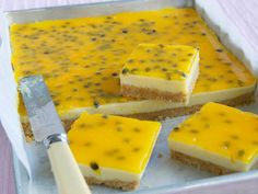 Lemon and passionfruit slice, lemon recipe, brought to you by Woman's Day Lemon Recipes, Sweet Recipes, Baking Recipes, Cake Recipes, Passionfruit Slice, Passionfruit Recipes, Köstliche Desserts, Delicious Desserts, Yummy Food