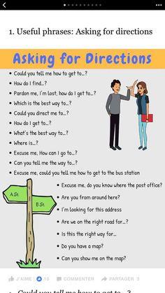 Asking for directions English Tips, English Fun, English Idioms, English Phrases, English Study, English Words, English Lessons, English Vocabulary, English Grammar