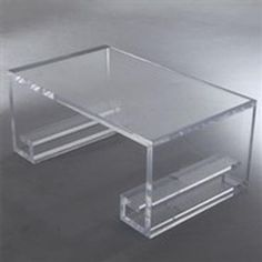 Thick Rectangular Lucite Coffee Tble - Mecox Gardens