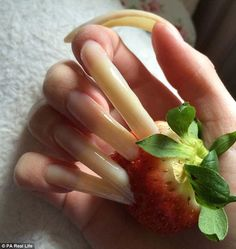 Creative pictures: Simone shows off the length of her nails by digging them into a strawbe. Long Natural Nails, Creative Pictures, Toe Nails, Finger Nails, Claws, Goth, Beautiful, Collection, Fashion