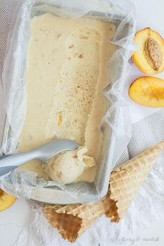 ... vegan peach and coconut ice cream ...