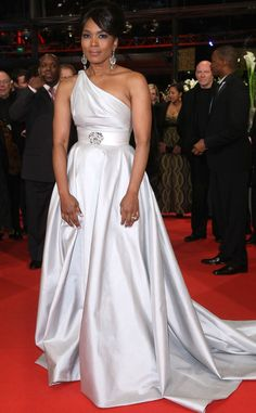 Angela Bassett from 2015 Emmy Nominees' Best Looks  In a silk one-shoulder dress