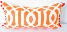Orange Lumbar Pillow Cover Bohemian Decor Orange by CityGirlsDecor