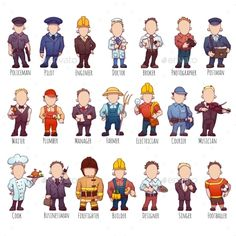 Buy Vector Set Of Business People, Such As Policeman by CattleyaArt on GraphicRiver. Vector set of business people, such as policeman, doctor, worker and other. Learning Games, Learning Centers, Learn Polish, People Png, Polish Language, Music Photographer, Learn Russian, Free To Use Images, Community Helpers