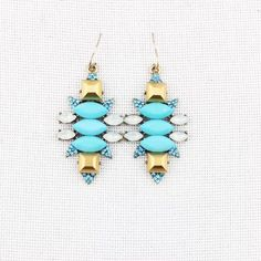 """Antique Blue Bead Opal Stone Drop Earrings! Fun Fashionable Drop Earrings- Opal Beads, Blue Stones, Antique Gold Plating, Shiny Blue Crystals  • Weight 37g • Nickel Free Plating  • 2.36"""" length X 1.38"""" Width  - Price Firm unless Bundled - Bundle 2 or more items for 20% Discount! - No Trades - PayPal is now accepted thru Posh! Boutique Jewelry Earrings"""