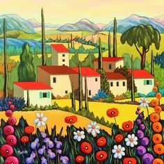 This site presents the paintings of Louise Marion, landscaper Canadian painter with bright colors and breathing the joy of living! Artist Bag, Canadian Painters, Joy Of Living, Naive Art, Acrylic Painting Canvas, Home Art, Whimsical, Art Gallery, Bouquet