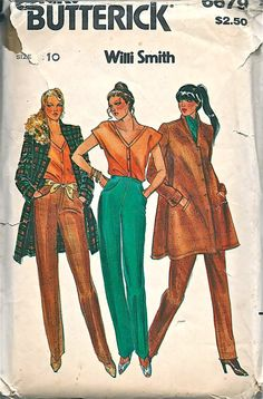 Butterick 6679 1970s WILLI SMITH Misses Jacket Top and Pants womens vintage sewing pattenr by mbchills