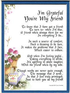 I'm Grateful You're My Friend Poem