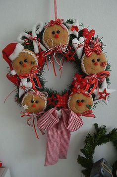Türkranz Weihnachten Lebkuchen Winter Girlande Kranz Tilda Stoff Deko X-Mas 40cm