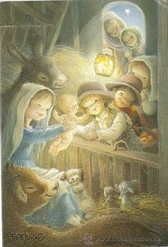 3797 - ORIGINAL FERRÁNDIZ - N.2106.2 -DIPTICA -  17X11,5 CM  - DATA 1989 Old Christmas, Vintage Christmas Cards, Xmas, Silent Night Holy Night, Clip Art Pictures, Christmas Clipart, Tole Painting, Vintage Children, Vintage Images