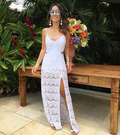 Silvia B. Braz (@silviabraz) • Fotos e vídeos do Instagram Cute Summer Outfits, Summer Dresses, Sexy Wedding Dresses, Hot Pants, All White, Feminine Style, Lace Skirt, Ideias Fashion, Bodycon Dress