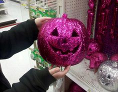 Glitter pink jack-o-lantern from Target. Or, you can make one yourself with either pink glitter paint or glue & pink glitter. Halloween 'Pink-O-Ween' Party