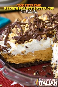 Extreme Reeses Peanut Butter No-Bake Pie has an extraordinary pie crust recipe with a special ingredient that will blow your mind, a light and fluffy peanut butter filling and a fully loaded mix of toppings to really make this pie sing it is topped with Reese Peanut Butter Pie, Peanut Butter Desserts, No Bake Desserts, Just Desserts, Dessert Recipes, Icebox Desserts, Dessert Healthy, Fudge, No Bake Pies