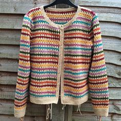 Crochet Cardigan Ravelry: CannyCat's Vintage Cluster Cardi - The buttons were wooden ones, painted with humbrol enamel paints :) Gilet Crochet, Black Crochet Dress, Crochet Cardigan Pattern, Crochet Jacket, Knit Crochet, Crochet Patterns, Pull Crochet, Love Crochet, Crochet Granny