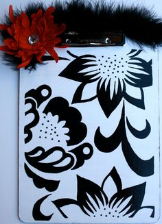 Black and white, this pattern is great in any color:) Clipboard Wall, Dyi, Hand Painted, Black And White, Unique Jewelry, Handmade Gifts, Pattern, Boards, Teacher