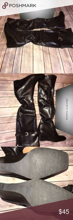 Franco Sarto Brown Boots, size 11 Dark Brown Franco Sarto Wedge Boots with gold accents in size 11 Franco Sarto Shoes Ankle Boots & Booties