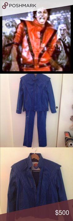 Michael Jackson Thriller jacket & pants in BLUE! Vintage, Authentic J Park Designer Collection in genuine blue leather not gender specific. Jackets & Coats
