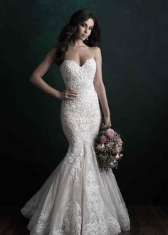 Allure Bridals Couture Allure Bridal Gown pictured with lining. Beaded and appliqued with elegant finishes, this strapless gown is utterly timeless. Mermaid Dresses, Bridal Dresses, Wedding Gowns, Bridesmaid Dresses, Lace Wedding, Dream Wedding, Bling Wedding, Wedding Bells, Prom Dresses