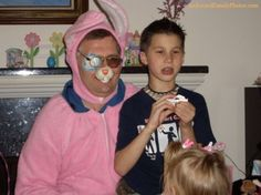 """I think this Easter bunny is wearing Gramma's robe!"""